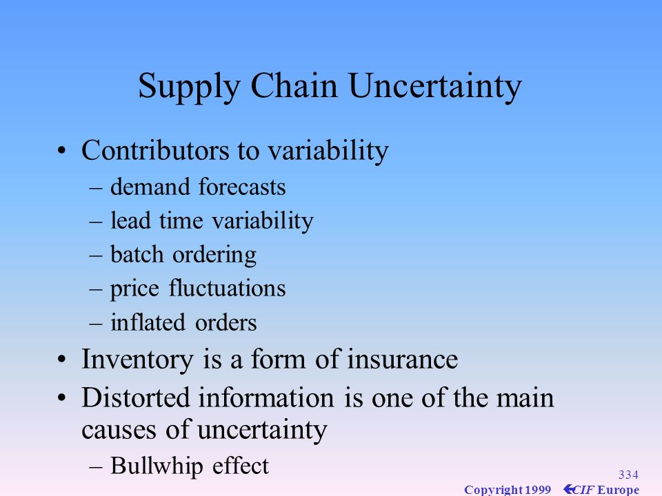 333 Copyright 1999 ç CIF Europe Supply Chain Management Synchronization of activities required to achieve maximum competitive benefits while lowering