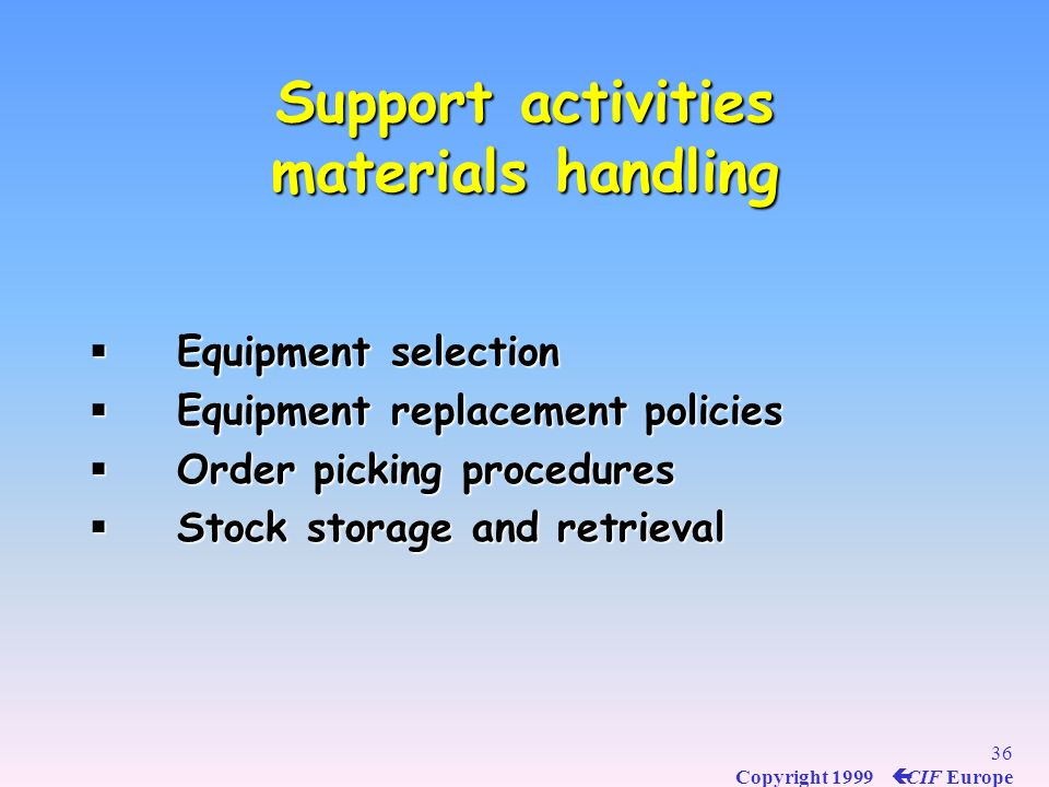 35 Copyright 1999 ç CIF Europe Support activities warehousing Support activities (depending on the circumstances) Warehousing Warehousing Space determ