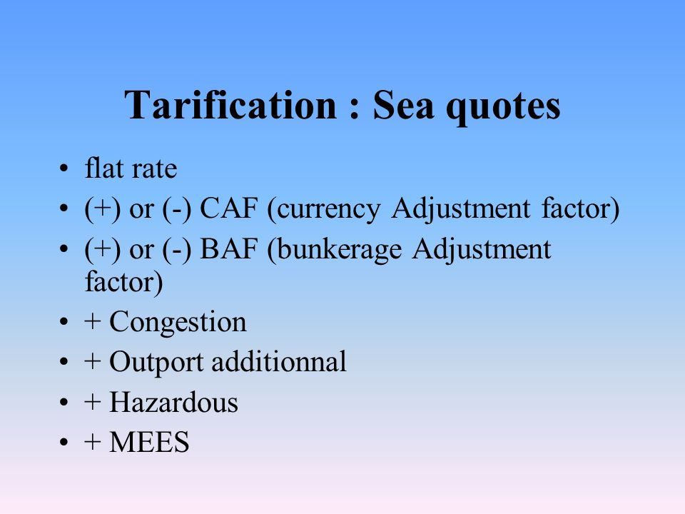 Tarification: air quotes Flat rate Special rates Corates ULD / Unit Load Devices