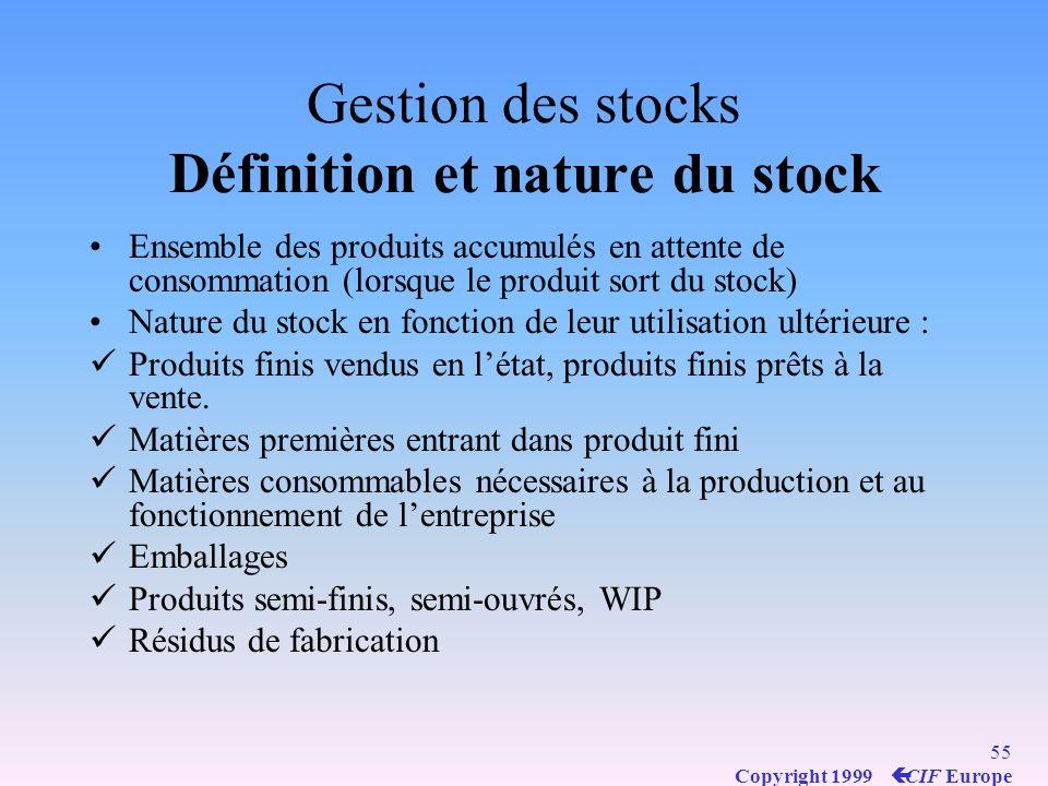 54 Copyright 1999 ç CIF Europe Gestion des stocks pourquoi constituer un stock?.