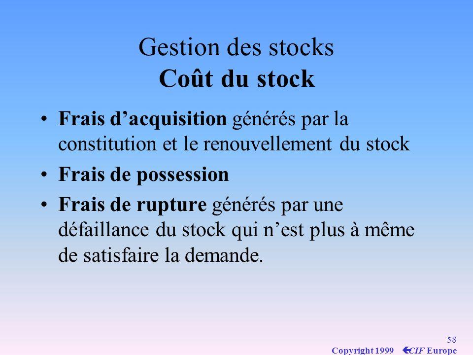 57 Copyright 1999 ç CIF Europe Gestion des stocks Stock actif : partie destinée à satisfaire la demande Stock de protection ou de sécurité : partie destinée à satisfaire une demande supérieure à la moyenne prévue ou à parer aux conséquences dun retard de livraison.