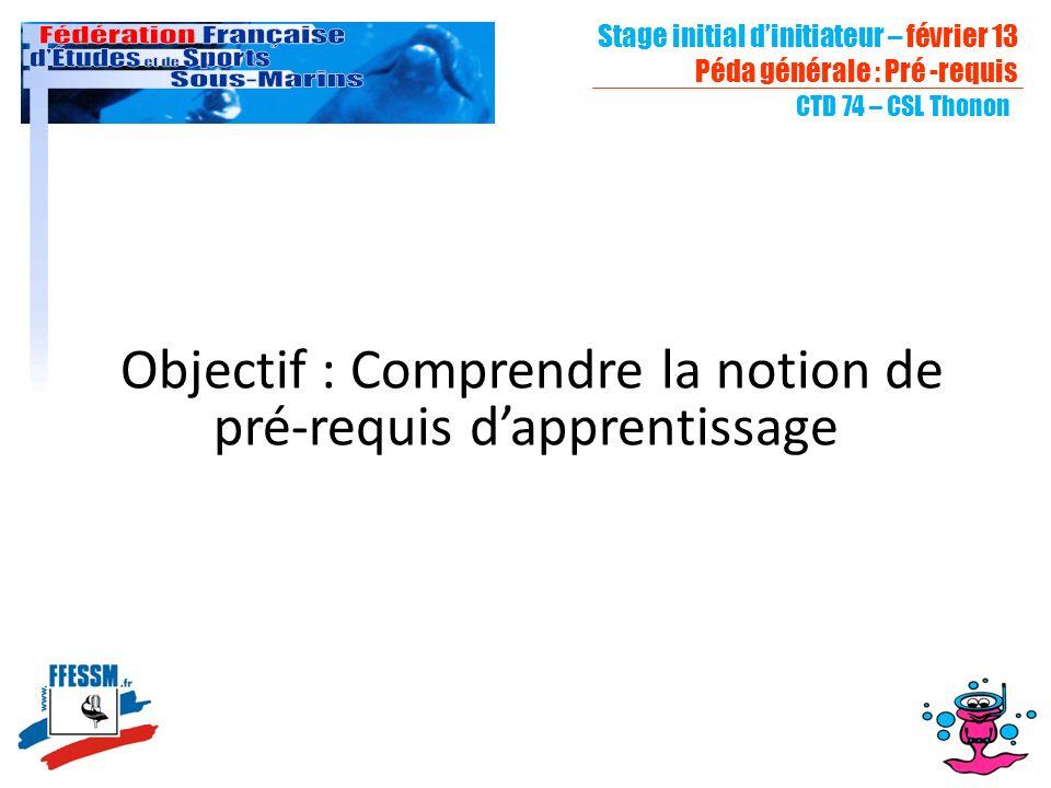 Stage initial dinitiateur – février 13 Péda générale : Pré -requis CTD 74 – CSL Thonon Objectif : Comprendre la notion de pré-requis dapprentissage