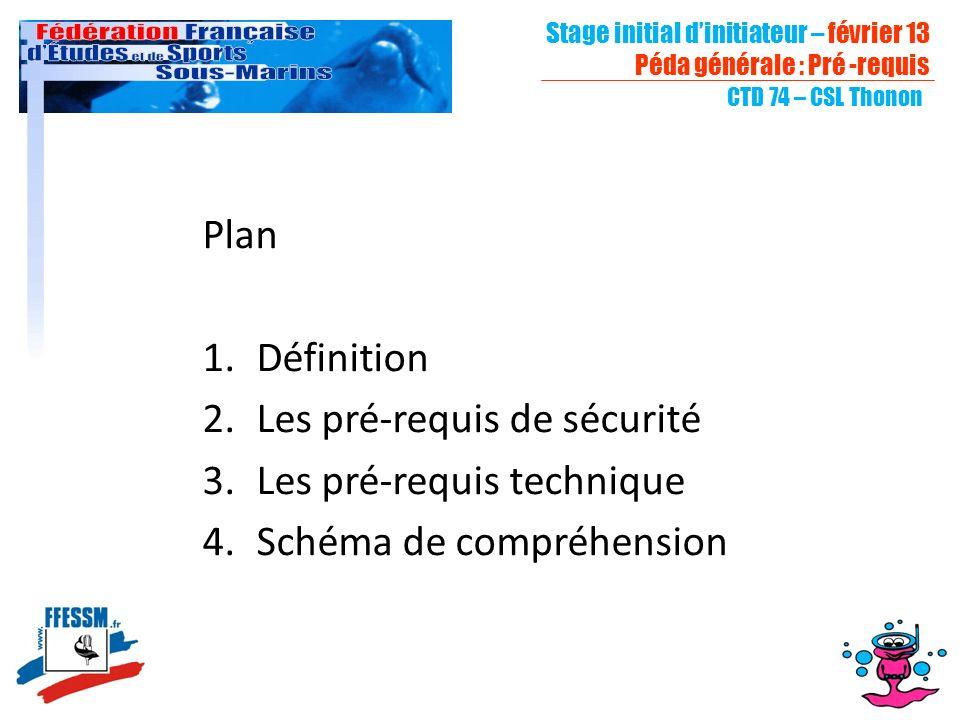 Stage initial dinitiateur – février 13 Péda générale : Pré -requis CTD 74 – CSL Thonon Plan 1.Définition 2.Les pré-requis de sécurité 3.Les pré-requis technique 4.Schéma de compréhension