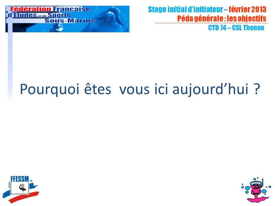CTD 74 – CSL Thonon Pourquoi êtes vous ici aujourdhui ? Stage initial dinitiateur – février 2013 Péda générale : les objectifs