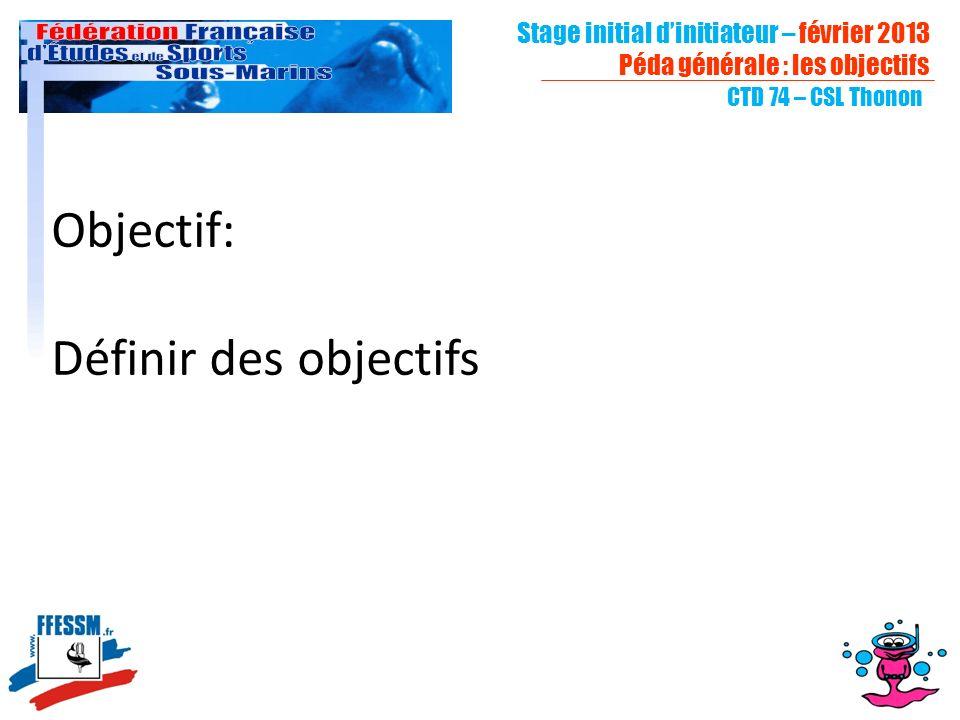 Stage initial dinitiateur – février 2013 Péda générale : les objectifs CTD 74 – CSL Thonon Objectif: Définir des objectifs