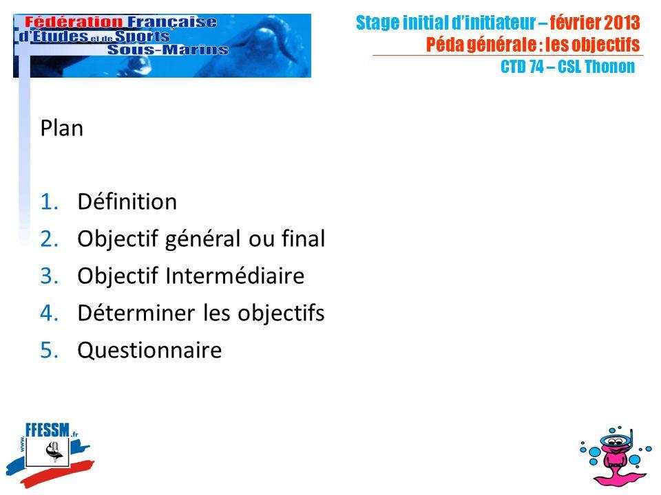 CTD 74 – CSL Thonon Plan 1.Définition 2.Objectif général ou final 3.Objectif Intermédiaire 4.Déterminer les objectifs 5.Questionnaire Stage initial di