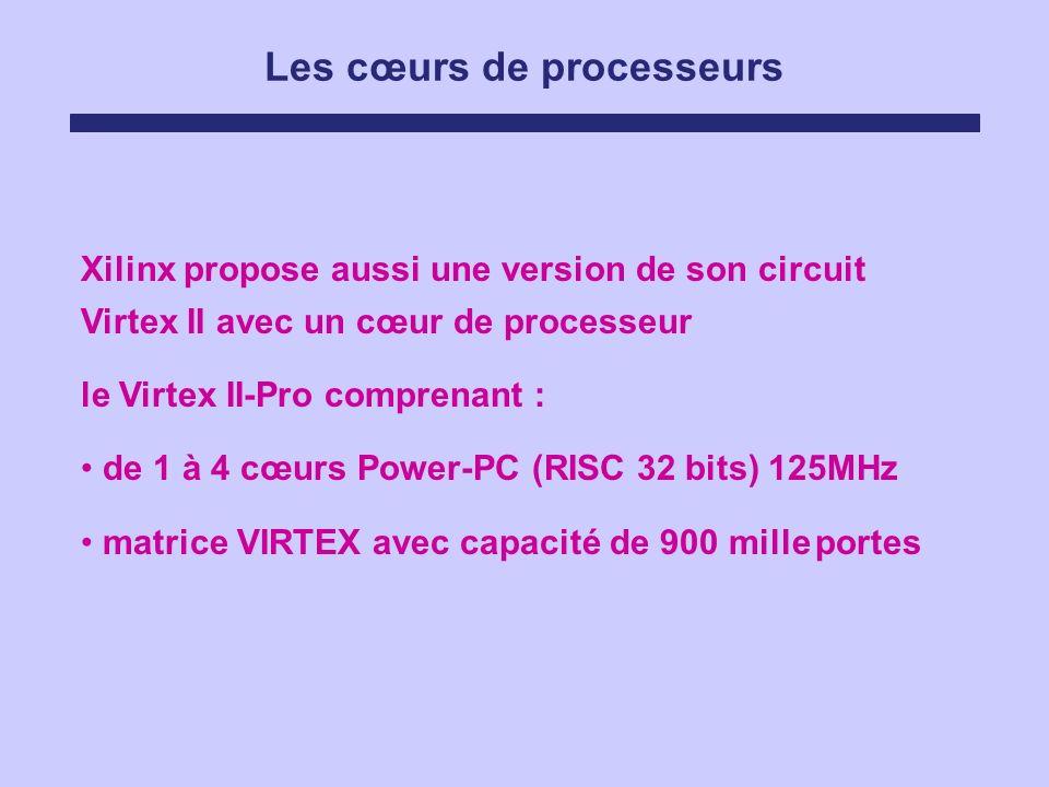 Les cœurs de processeurs Xilinx propose aussi une version de son circuit Virtex II avec un cœur de processeur le Virtex II-Pro comprenant : de 1 à 4 c