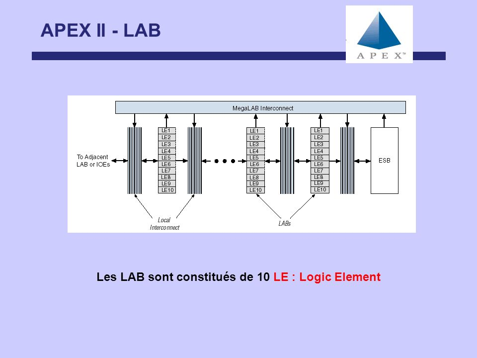 APEX II - LAB Les LAB sont constitués de 10 LE : Logic Element