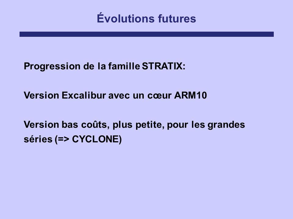 Évolutions futures Progression de la famille STRATIX: Version Excalibur avec un cœur ARM10 Version bas coûts, plus petite, pour les grandes séries (=>