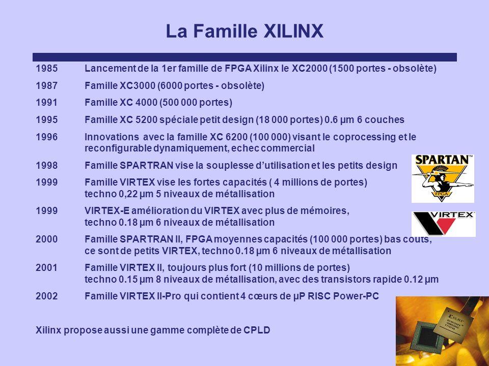 La Famille XILINX 1985Lancement de la 1er famille de FPGA Xilinx le XC2000 (1500 portes - obsolète) 1987Famille XC3000 (6000 portes - obsolète) 1991 F