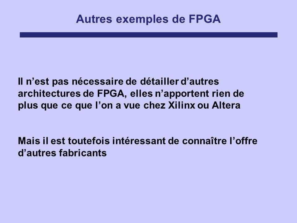 Autres exemples de FPGA Il nest pas nécessaire de détailler dautres architectures de FPGA, elles napportent rien de plus que ce que lon a vue chez Xil