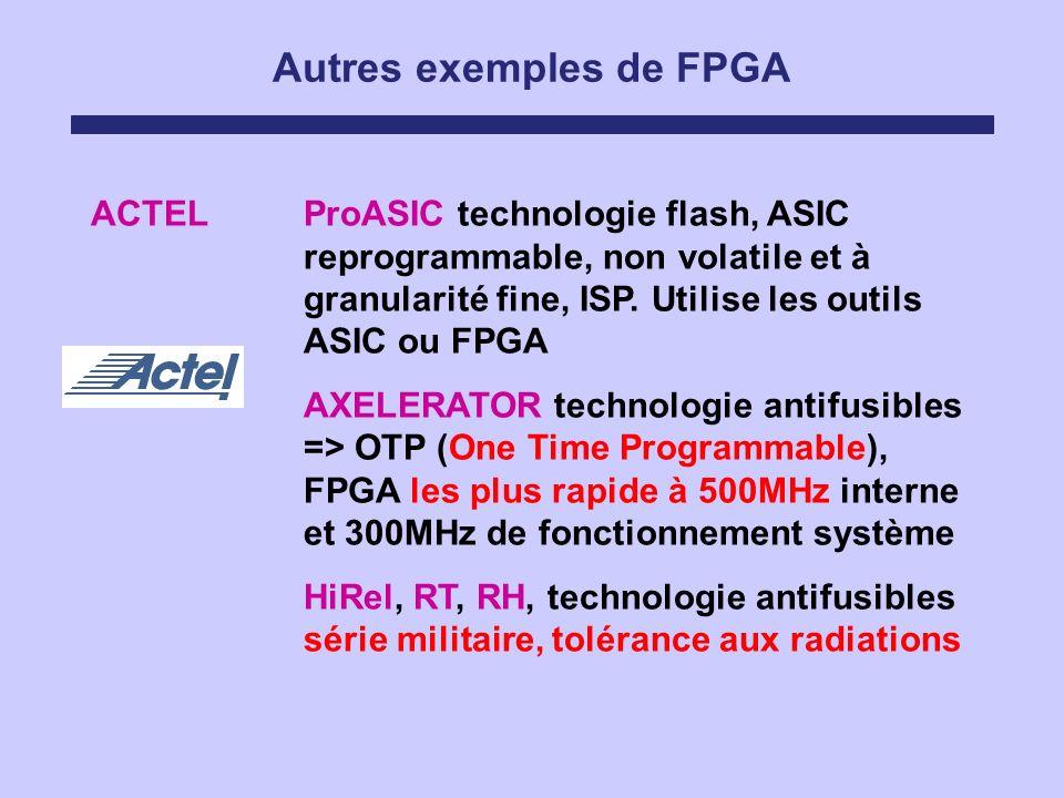 Autres exemples de FPGA ACTELProASIC technologie flash, ASIC reprogrammable, non volatile et à granularité fine, ISP. Utilise les outils ASIC ou FPGA