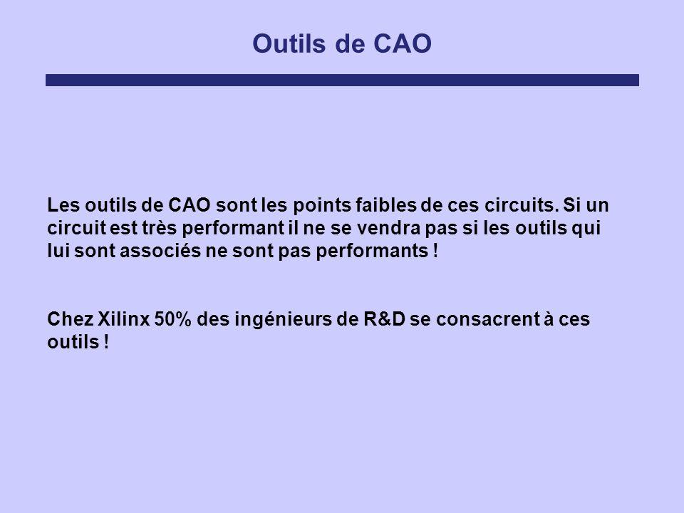 Outils de CAO Les outils de CAO sont les points faibles de ces circuits. Si un circuit est très performant il ne se vendra pas si les outils qui lui s
