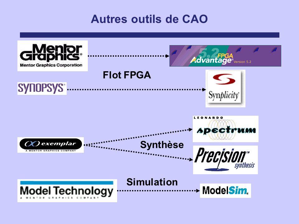 Autres outils de CAO Flot FPGA Synthèse Simulation