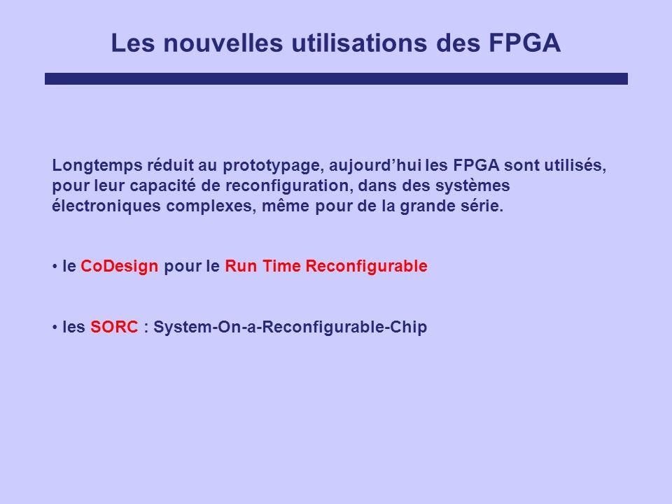 Les nouvelles utilisations des FPGA Longtemps réduit au prototypage, aujourdhui les FPGA sont utilisés, pour leur capacité de reconfiguration, dans de