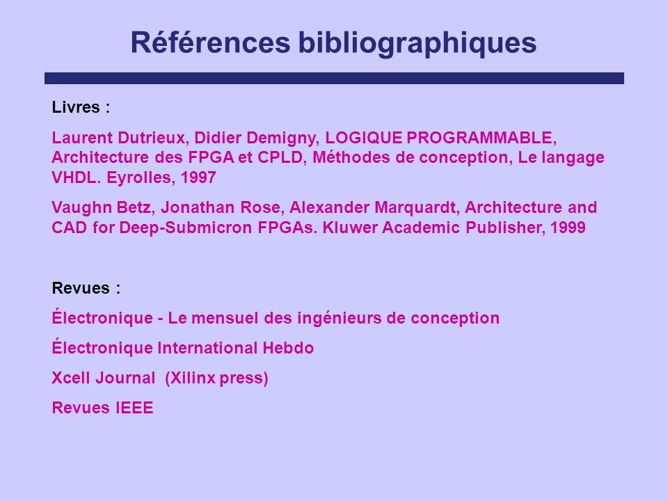 Références bibliographiques Livres : Laurent Dutrieux, Didier Demigny, LOGIQUE PROGRAMMABLE, Architecture des FPGA et CPLD, Méthodes de conception, Le