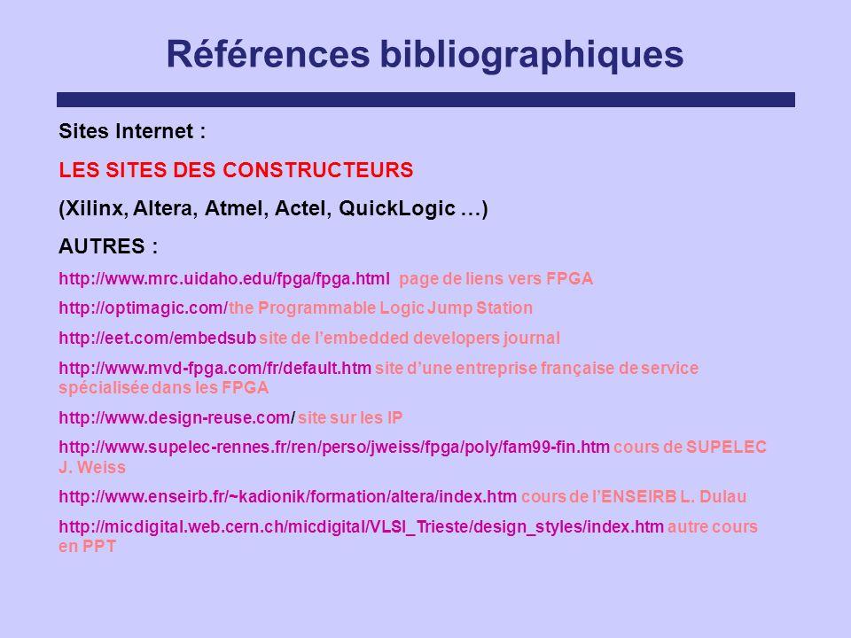 Références bibliographiques Sites Internet : LES SITES DES CONSTRUCTEURS (Xilinx, Altera, Atmel, Actel, QuickLogic …) AUTRES : http://www.mrc.uidaho.e