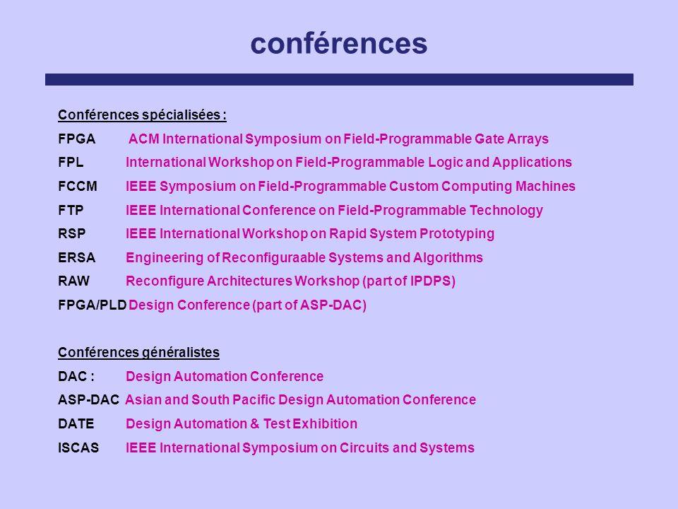 conférences Conférences spécialisées : FPGA ACM International Symposium on Field-Programmable Gate Arrays FPL International Workshop on Field-Programm