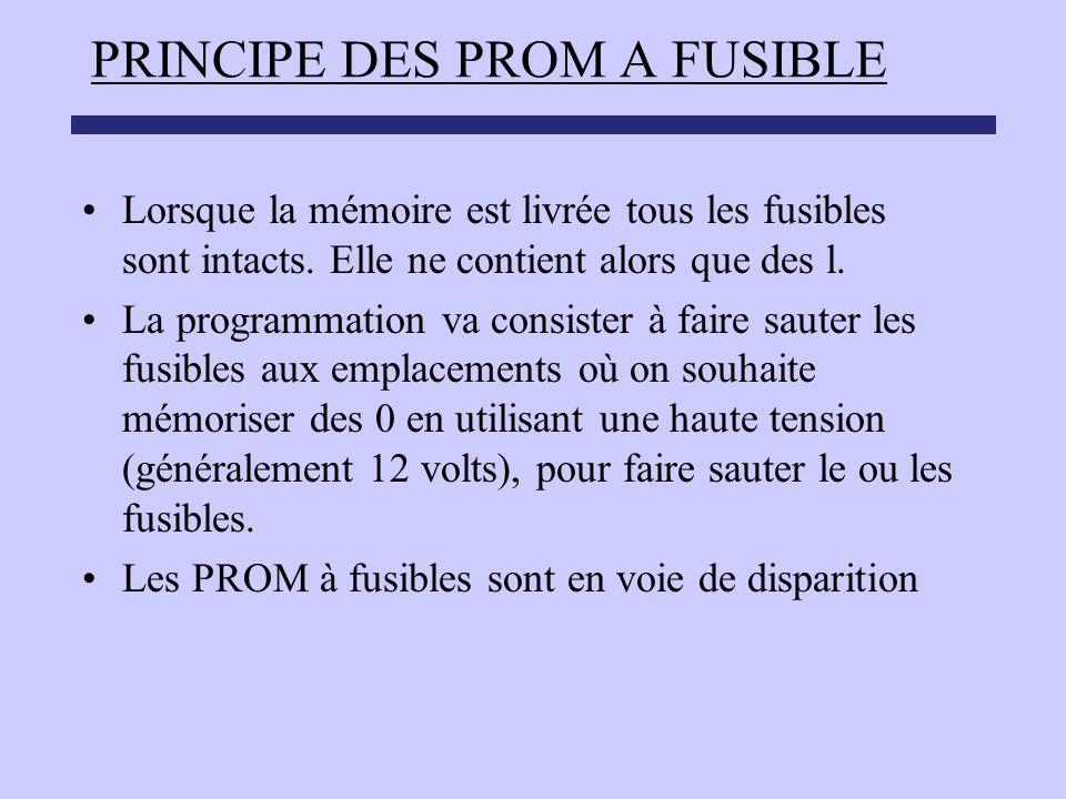 PRINCIPE DES PROM A FUSIBLE Lorsque la mémoire est livrée tous les fusibles sont intacts. Elle ne contient alors que des l. La programmation va consis