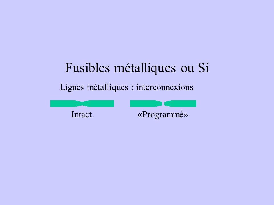 Fusibles métalliques ou Si Lignes métalliques : interconnexions Intact«Programmé»