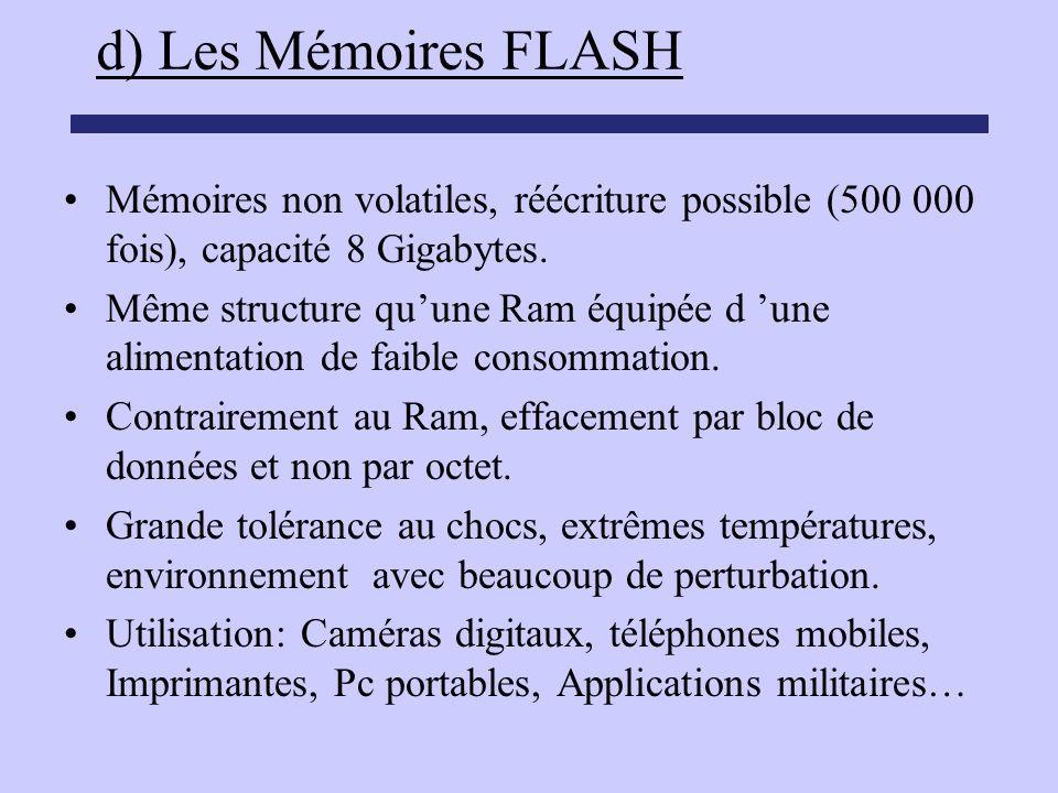 d) Les Mémoires FLASH Mémoires non volatiles, réécriture possible (500 000 fois), capacité 8 Gigabytes. Même structure quune Ram équipée d une aliment