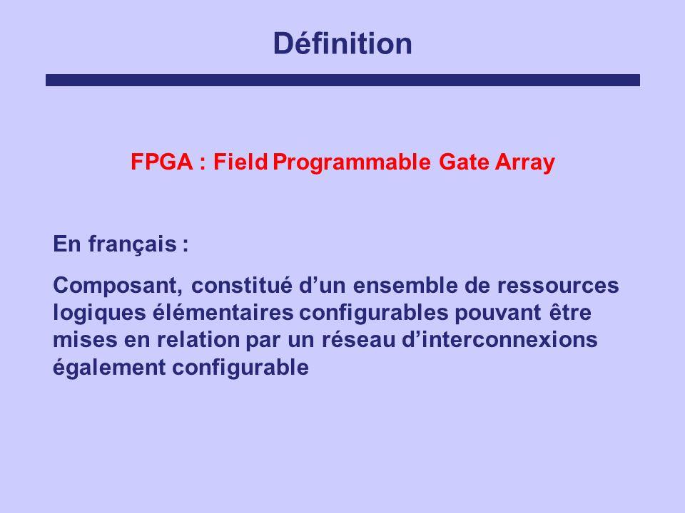 Définition FPGA : Field Programmable Gate Array En français : Composant, constitué dun ensemble de ressources logiques élémentaires configurables pouv