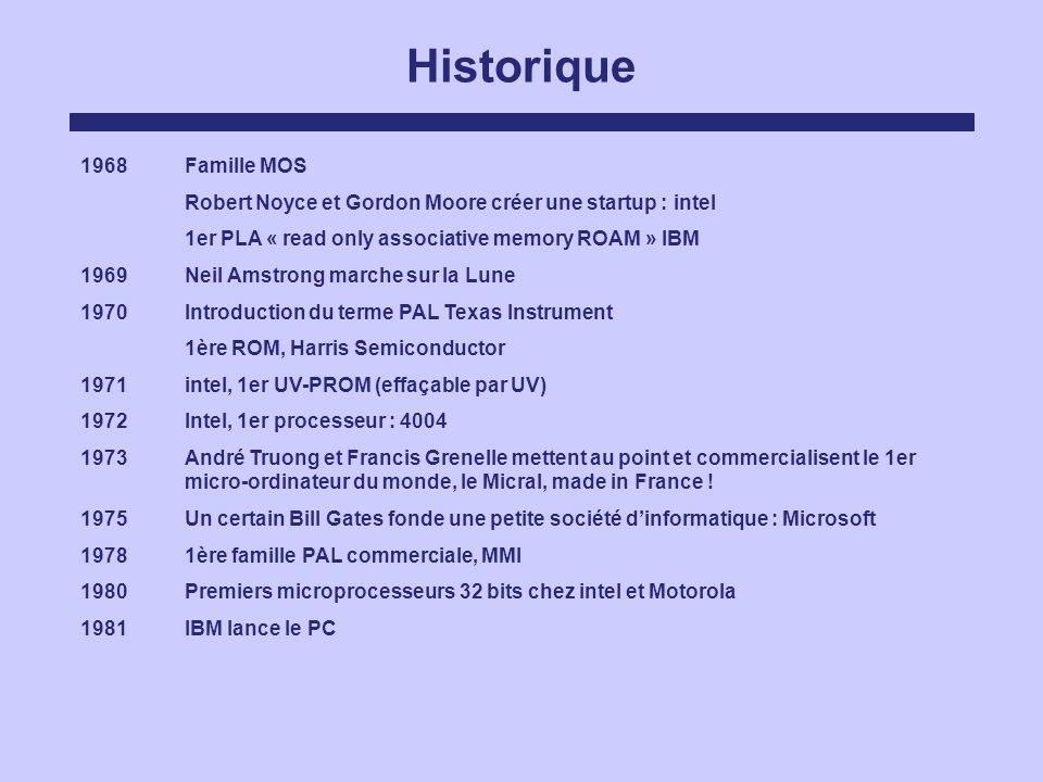 Historique 1968Famille MOS Robert Noyce et Gordon Moore créer une startup : intel 1er PLA « read only associative memory ROAM » IBM 1969Neil Amstrong