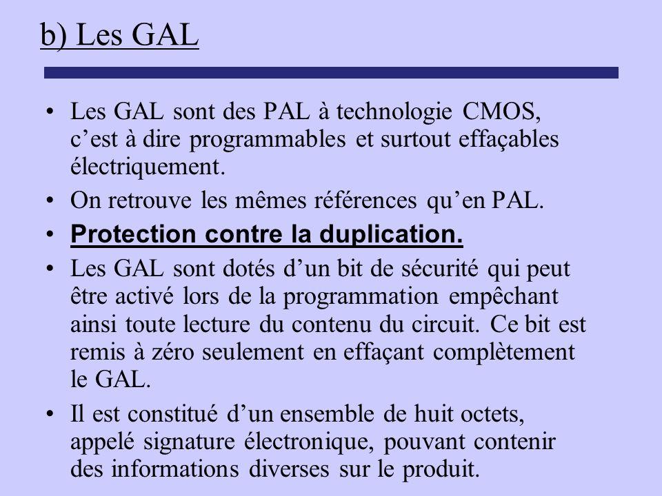 b) Les GAL Les GAL sont des PAL à technologie CMOS, cest à dire programmables et surtout effaçables électriquement. On retrouve les mêmes références q