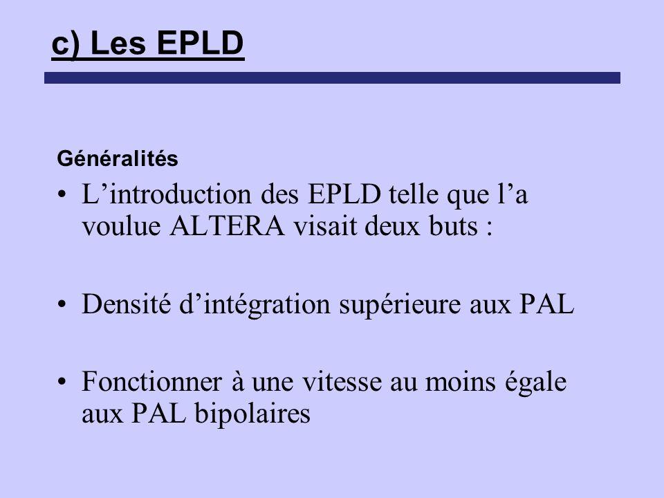 c) Les EPLD Généralités Lintroduction des EPLD telle que la voulue ALTERA visait deux buts : Densité dintégration supérieure aux PAL Fonctionner à une
