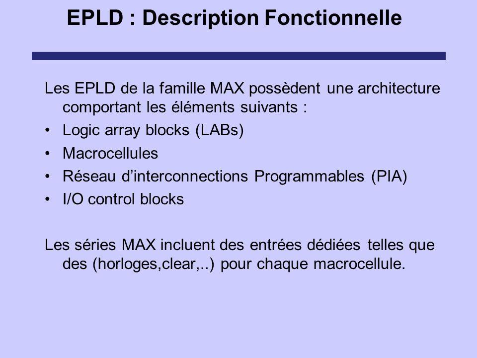 EPLD : Description Fonctionnelle Les EPLD de la famille MAX possèdent une architecture comportant les éléments suivants : Logic array blocks (LABs) Ma
