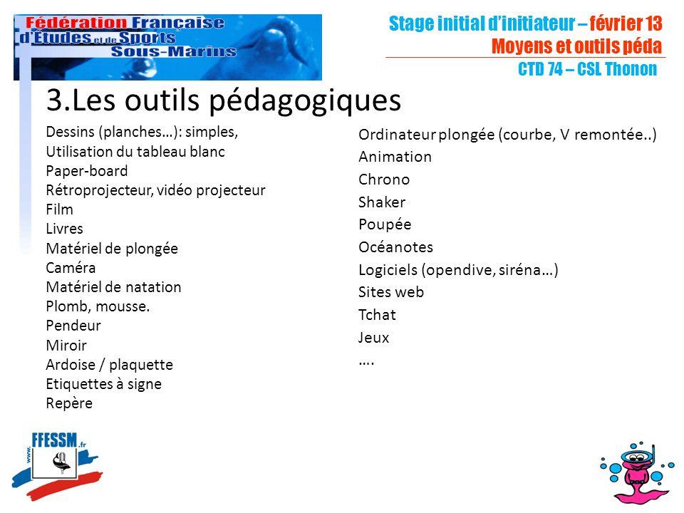 Stage initial dinitiateur – février 13 Moyens et outils péda CTD 74 – CSL Thonon 3.Les outils pédagogiques Dessins (planches…): simples, Utilisation d