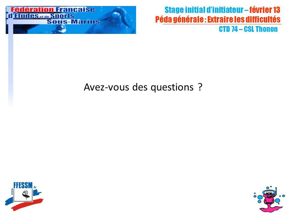 Stage initial dinitiateur – février 13 Péda générale : Extraire les difficultés CTD 74 – CSL Thonon Avez-vous des questions ?