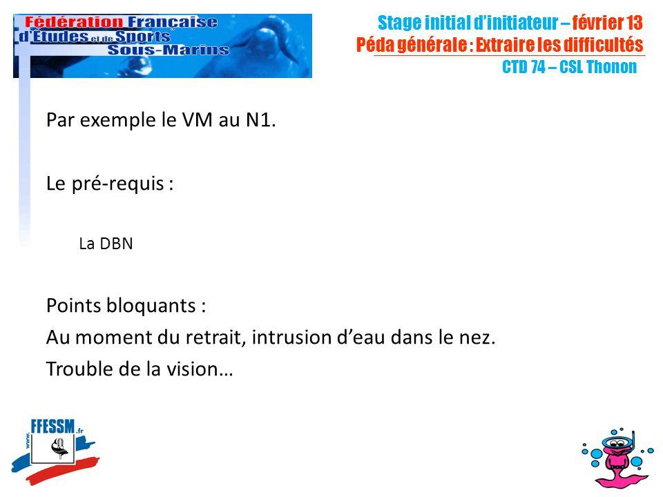 Stage initial dinitiateur – février 13 Péda générale : Extraire les difficultés CTD 74 – CSL Thonon Par exemple le VM au N1.