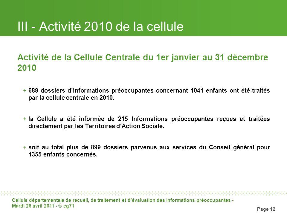 Cellule départementale de recueil, de traitement et d'évaluation des informations préoccupantes - Mardi 26 avril 2011 - © cg71 Page 12 III - Activité