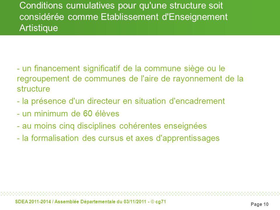 Page 10 SDEA 2011-2014 / Assemblée Départementale du 03/11/2011 - © cg71 Conditions cumulatives pour qu'une structure soit considérée comme Etablissem