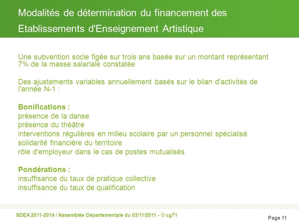 Page 11 SDEA 2011-2014 / Assemblée Départementale du 03/11/2011 - © cg71 Modalités de détermination du financement des Etablissements d'Enseignement A