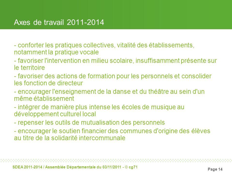 Page 14 SDEA 2011-2014 / Assemblée Départementale du 03/11/2011 - © cg71 Axes de travail 2011-2014 - conforter les pratiques collectives, vitalité des
