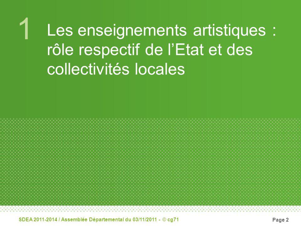 1 Les enseignements artistiques : rôle respectif de lEtat et des collectivités locales SDEA 2011-2014 / Assemblée Départemental du 03/11/2011 - © cg71