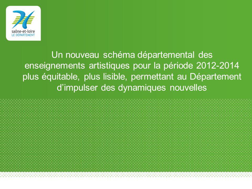 Un nouveau schéma départemental des enseignements artistiques pour la période 2012-2014 plus équitable, plus lisible, permettant au Département dimpul