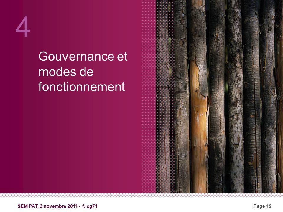 SEM PAT, 3 novembre 2011 - © cg71Page 12 Gouvernance et modes de fonctionnement 4