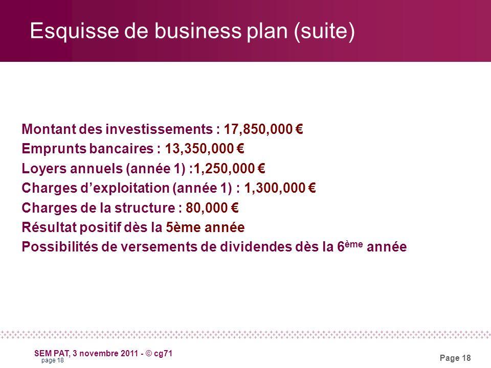 Page 18 SEM PAT, 3 novembre 2011 - © cg71 Esquisse de business plan (suite) Montant des investissements : 17,850,000 Emprunts bancaires : 13,350,000 Loyers annuels (année 1) :1,250,000 Charges dexploitation (année 1) : 1,300,000 Charges de la structure : 80,000 Résultat positif dès la 5ème année Possibilités de versements de dividendes dès la 6 ème année page 18