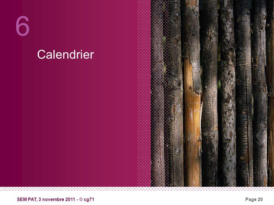 SEM PAT, 3 novembre 2011 - © cg71Page 20 Calendrier 6