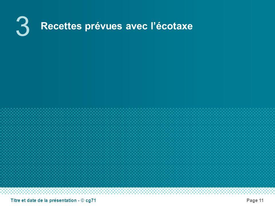 Recettes prévues avec lécotaxe 3 Page 11Titre et date de la présentation - © cg71