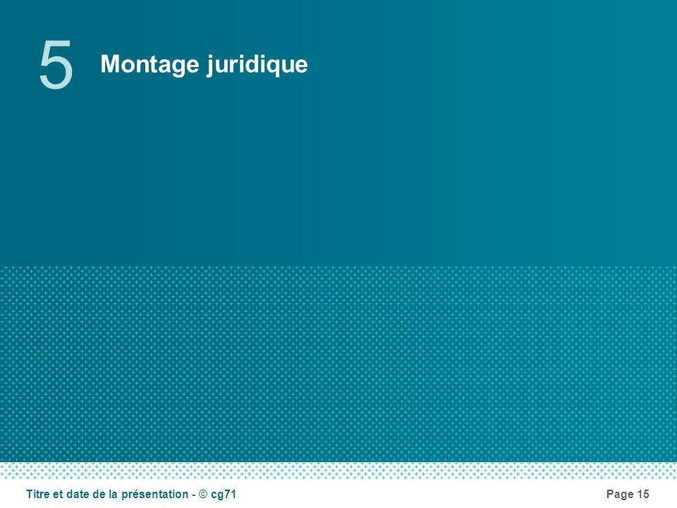 Montage juridique 5 Page 15Titre et date de la présentation - © cg71