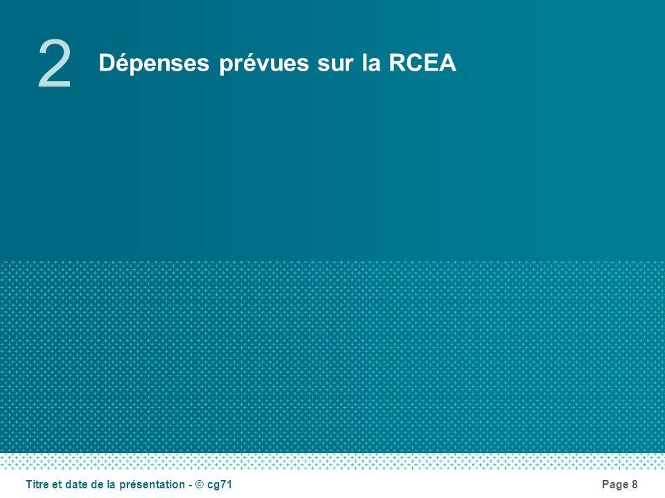 Dépenses prévues sur la RCEA 2 Page 8Titre et date de la présentation - © cg71