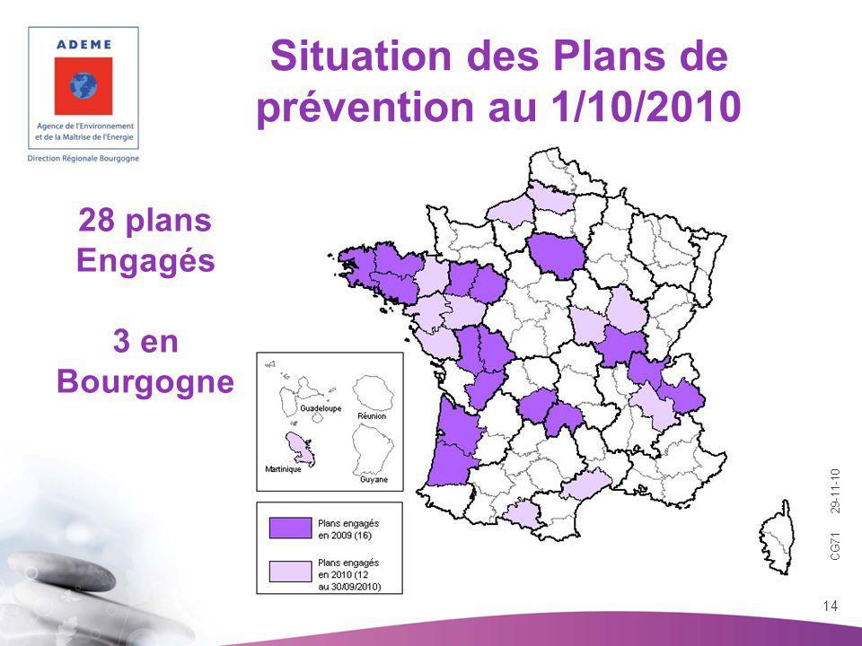 CG71 29-11-10 14 Situation des Plans de prévention au 1/10/2010 28 plans Engagés 3 en Bourgogne