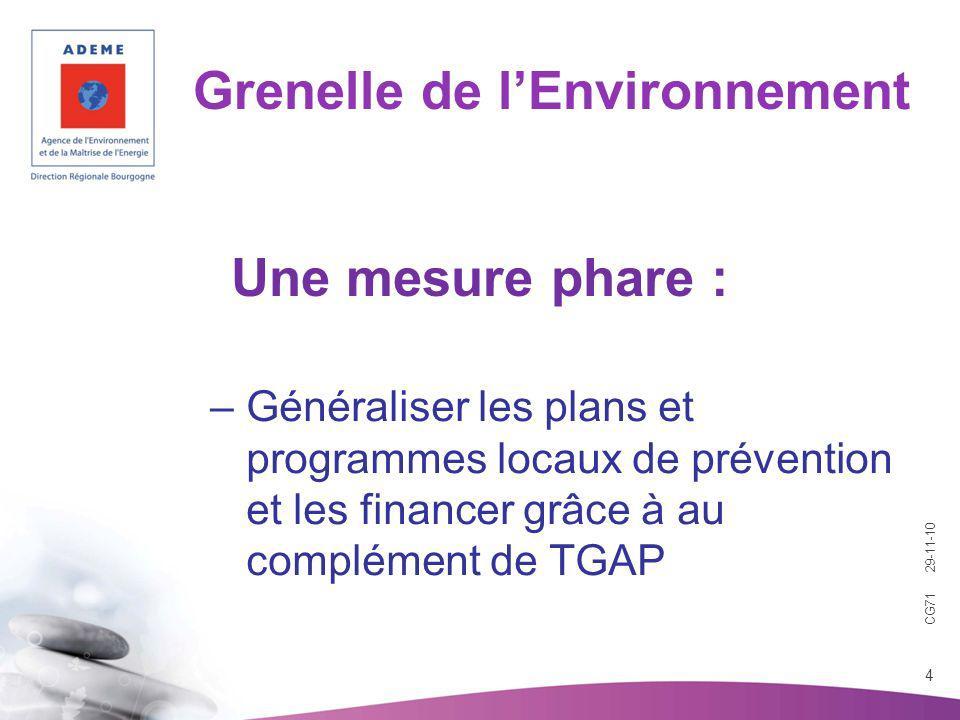 CG71 29-11-10 4 Grenelle de lEnvironnement –Généraliser les plans et programmes locaux de prévention et les financer grâce à au complément de TGAP Une