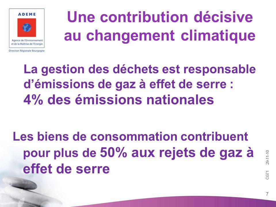 CG71 29-11-10 7 Une contribution décisive au changement climatique Les biens de consommation contribuent pour plus de 50% aux rejets de gaz à effet de