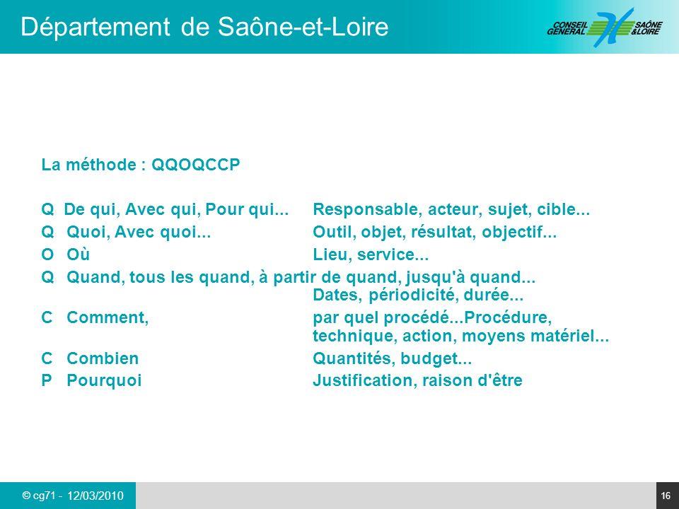 © cg71 - Département de Saône-et-Loire 16 12/03/2010 La méthode : QQOQCCP Q De qui, Avec qui, Pour qui...Responsable, acteur, sujet, cible... QQuoi, A