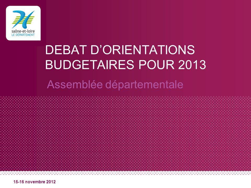DEBAT DORIENTATIONS BUDGETAIRES POUR 2013 Assemblée départementale 15-16 novembre 2012